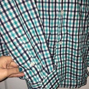 Express Shirts - Express Dress Shirt Fitted Large L Plaid Blue